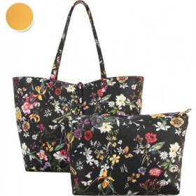 Diophy Women Colorful Floral Pattern Two-Tone Reversible Large Tote with Matching Crossbody 2 Piece Set High quality fabric lined interior with multiple interior pockets CT39-354015 FTXLCMU